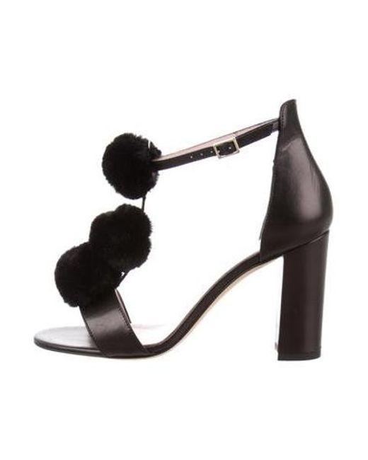 f05abd5a6bb19 Kate Spade - Metallic Pom-pom T-strap Sandal Black - Lyst ...