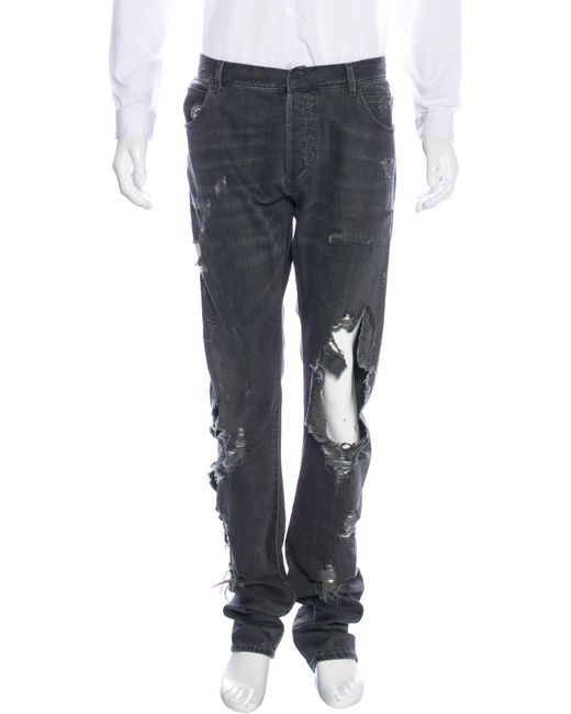 Balmain | Gray Distressed Skinny Jeans for Men | Lyst