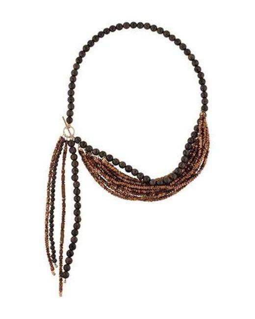 Brunello Cucinelli - Metallic Agate & Bead Multistrand Necklace Silver - Lyst