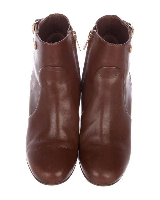 fa0e52680e82f8 ... Tory Burch - Metallic Milan Leather Wedge Boots Brown - Lyst ...