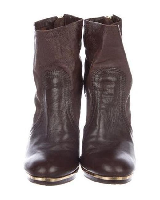 994e753e2687 ... Tory Burch - Brown Leather Ankle Boots - Lyst ...