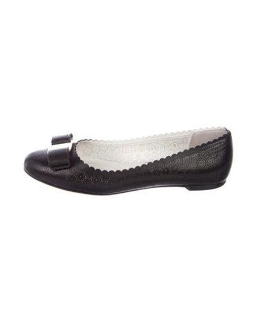 17882805c7 Ferragamo - Black Perforated Leather Flats - Lyst ...