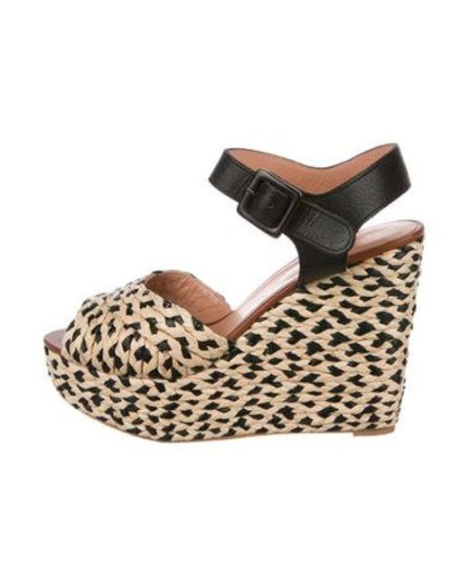 6164051d09e Robert Clergerie - Black Raffia Wedge Sandals - Lyst ...