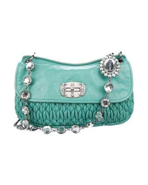 305e45b54f82 Miu Miu - Metallic Miu Matelassé Leather Bag Turquoise - Lyst ...