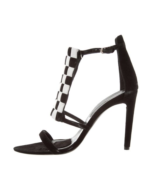 Proenza Schouler - Black Suede Checkerboard Sandals - Lyst
