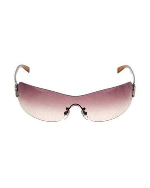 4bfc561e000 BVLGARI - Metallic Embellished Rimless Sunglasses Pink - Lyst ...