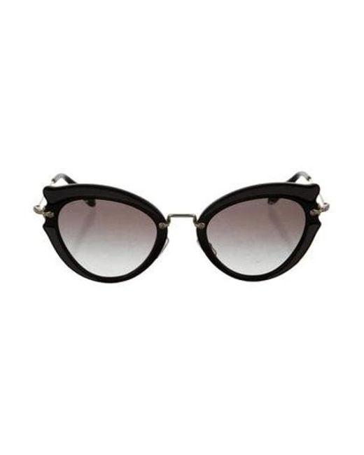 afea2d2e978 Miu Miu - Metallic Miu Tinted Cat-eye Sunglasses Black - Lyst ...