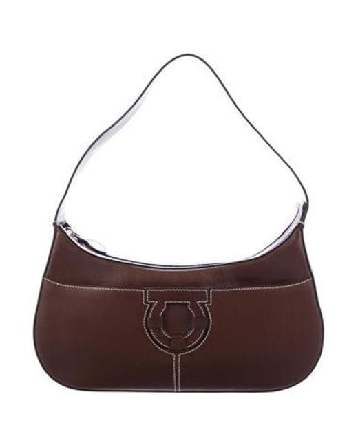 beedf050f13f Ferragamo - Metallic Small Gancio Shoulder Bag Brown - Lyst ...