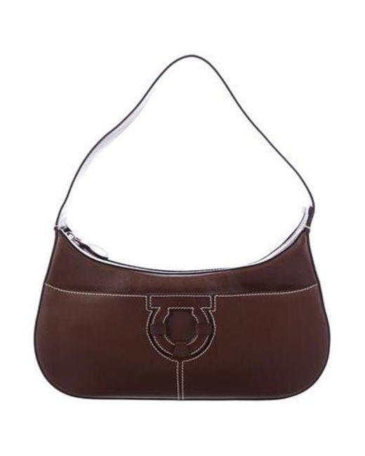 Ferragamo - Metallic Small Gancio Shoulder Bag Brown - Lyst ... 3cd054b9a3c1f