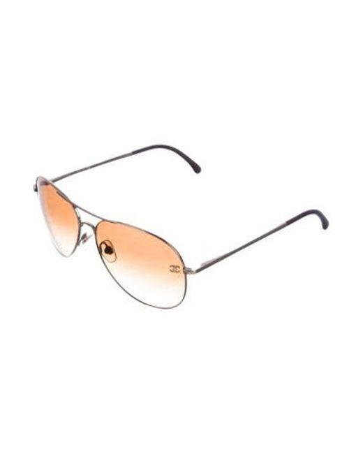 0a05dd35052d ... Chanel - Metallic Cc Pilot Sunglasses Gold - Lyst ...