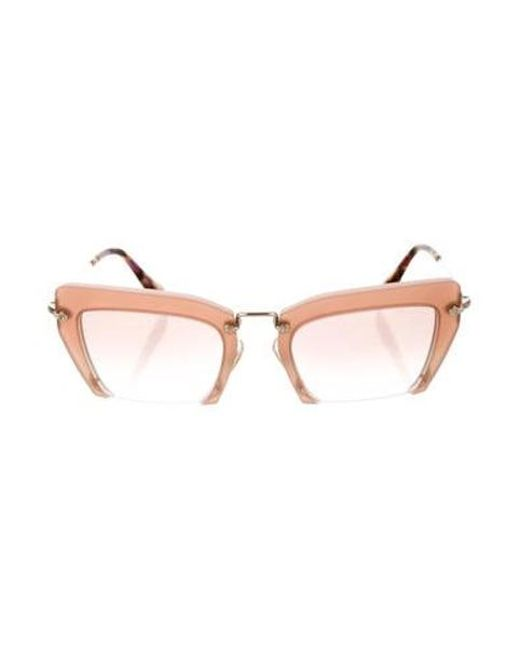9c2471c4f75d Miu Miu - Metallic Miu Cat-eye Half-rim Sunglasses Mauve - Lyst ...