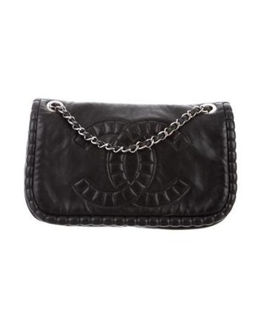 bb33c167bd2b Chanel - Metallic Small On The Bund Flap Bag Black - Lyst ...