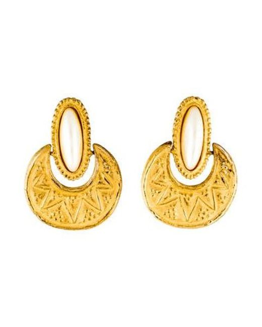 Givenchy Metallic Faux Pearl Clip On Earrings Gold Lyst