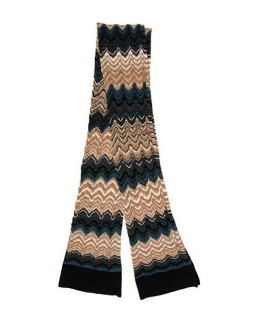 Lyst Missoni Chevron Open Knit Scarf Tan In Natural