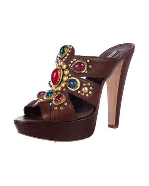 ee5e03492bc ... Miu Miu - Brown Miu Leather Studded Platform Sandals - Lyst ...