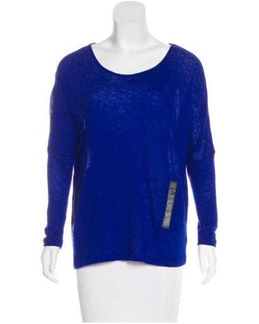 Maje - Blue Scoop Neck Long Sleeve Top - Lyst