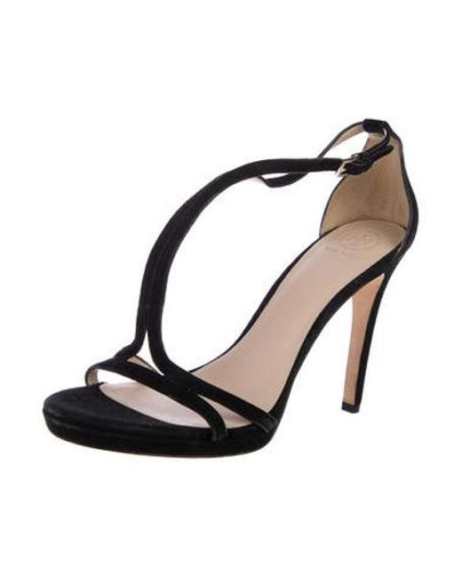bd81d09cecc52b ... Tory Burch - Black Suede T-strap Sandals - Lyst ...