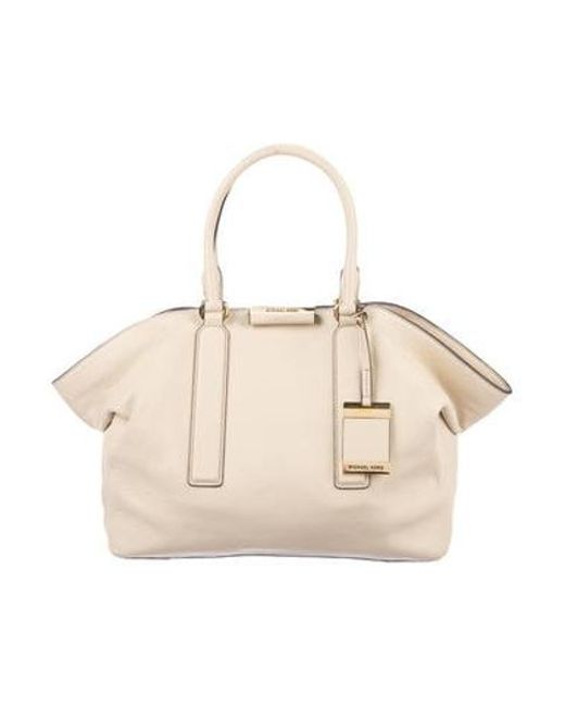 b6b4ba8a64ac9 Michael Kors - Metallic Leather Handle Bag Beige - Lyst ...