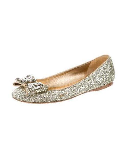 c14c145efbbe1 ... Miu Miu - Metallic Miu Jewel-embellished Glitter Flats Gold - Lyst ...