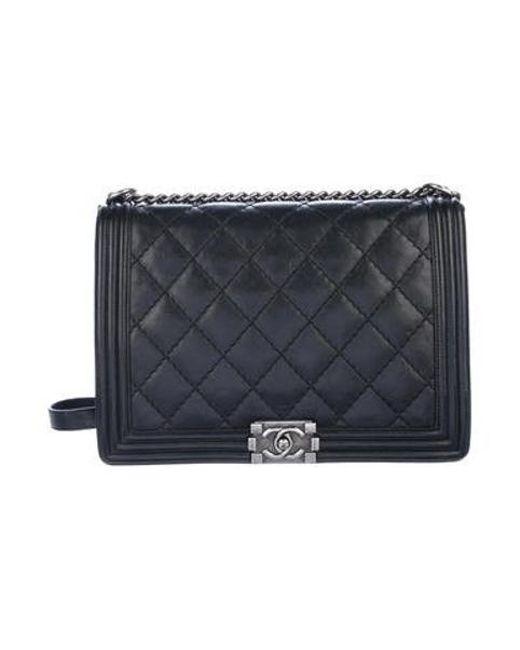 0490b3742c12 Chanel - Metallic Large Boy Bag Black - Lyst ...