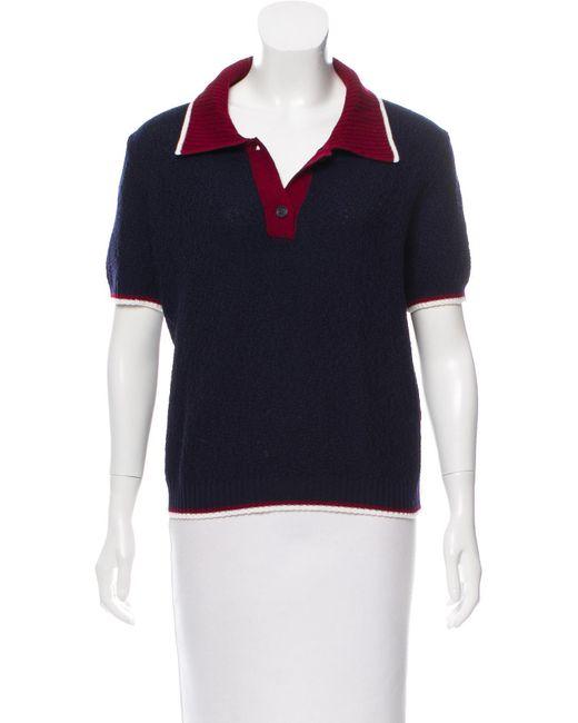 Miu Miu - Blue Miu Short Sleeve Pointed Collar Sweater Navy - Lyst