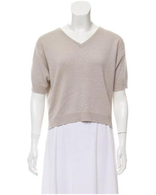 d27dcb94a5 Brunello Cucinelli - Natural Cashmere Cropped Sweater Beige - Lyst ...