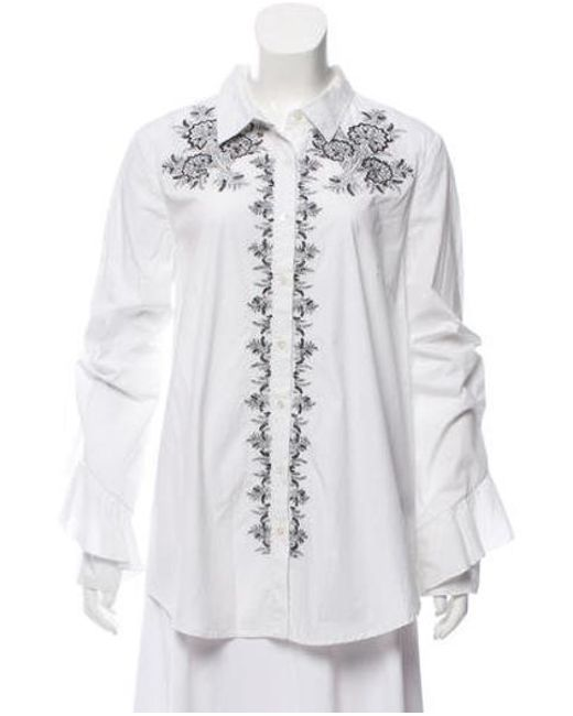 Suno - White Embroidered Ruffle Sleeve Shirt - Lyst