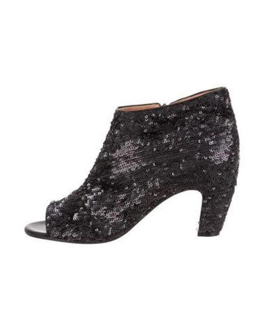 767f6b5c57 Maison Margiela - Black Sequined Peep-toe Booties - Lyst ...