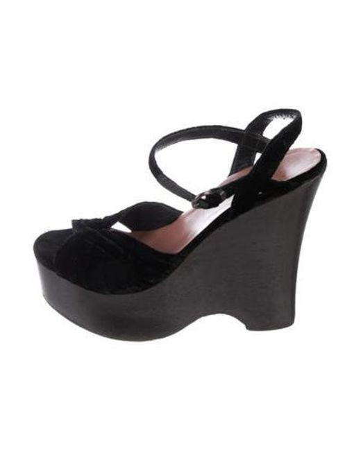 44429d287b40 Miu Miu - Black Miu Velvet Platform Sandals - Lyst ...