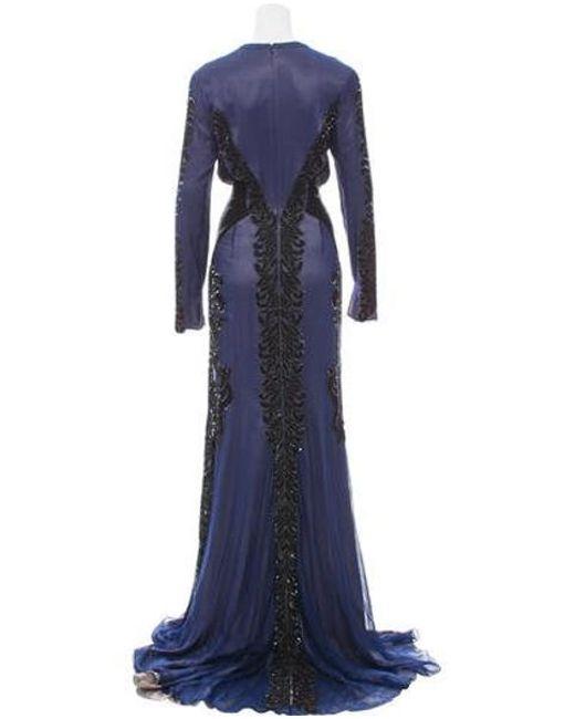 Bibhu Mohapatra Blue Embellished Silk Dress Lyst