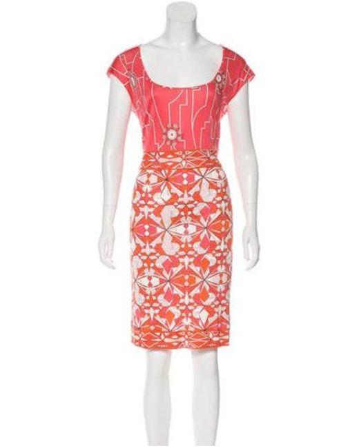Emilio Pucci - Pink Printed Knee-length Dress - Lyst ... 1b4a59c32
