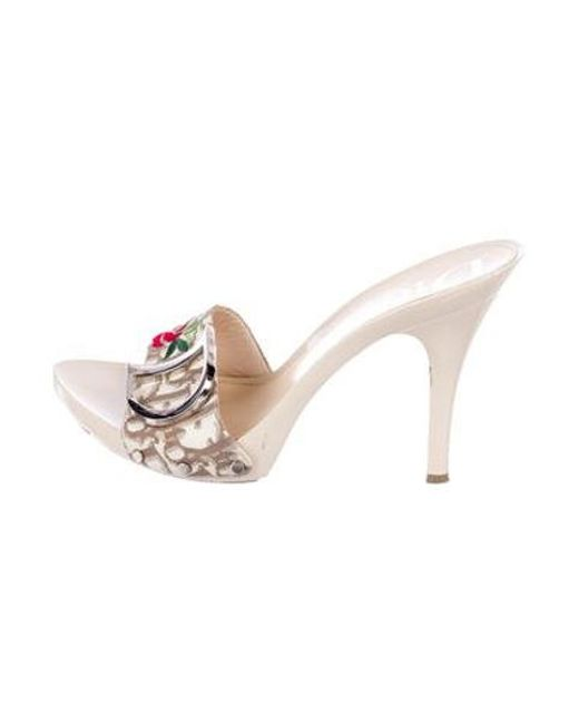 fd0430c7ee0 Dior - Metallic Diorissimo Embellished Sandals Grey - Lyst ...