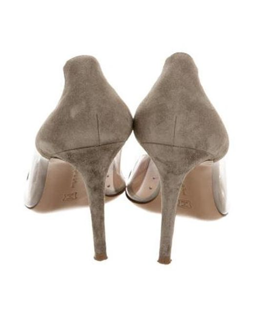 d5673dabf3d4 ... Gianvito Rossi - Gray Suede Trimmed Pumps Grey - Lyst
