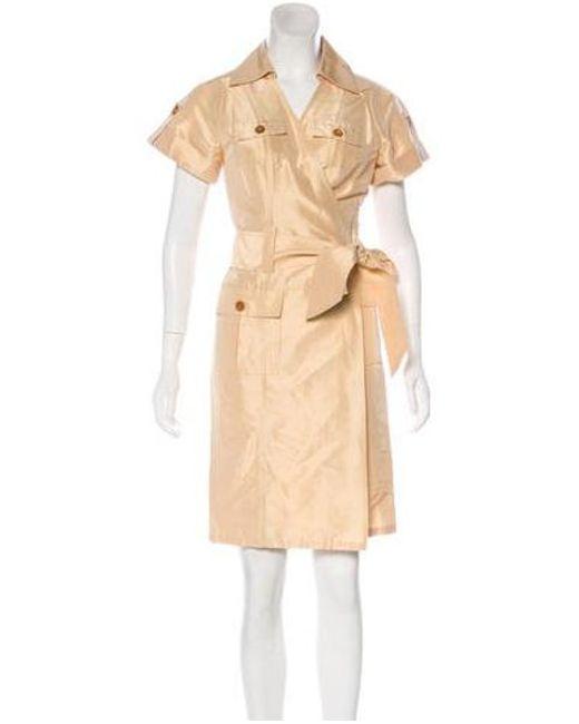 faa007448c Diane von Furstenberg - Natural Shantung Shirt Dress W  Tags Nude - Lyst ...