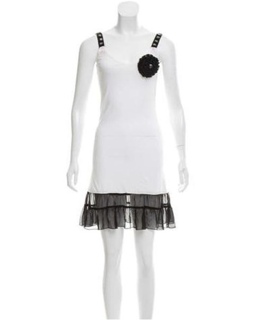 Anna Sui - White Silk-trimmed Mini Dress - Lyst