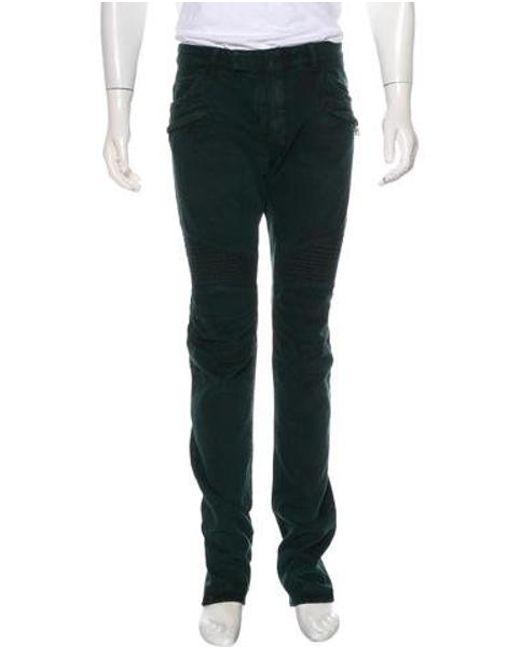 aa03ea53 Balmain - Green Biker Slim-fit Jeans W/ Tags for Men - Lyst ...