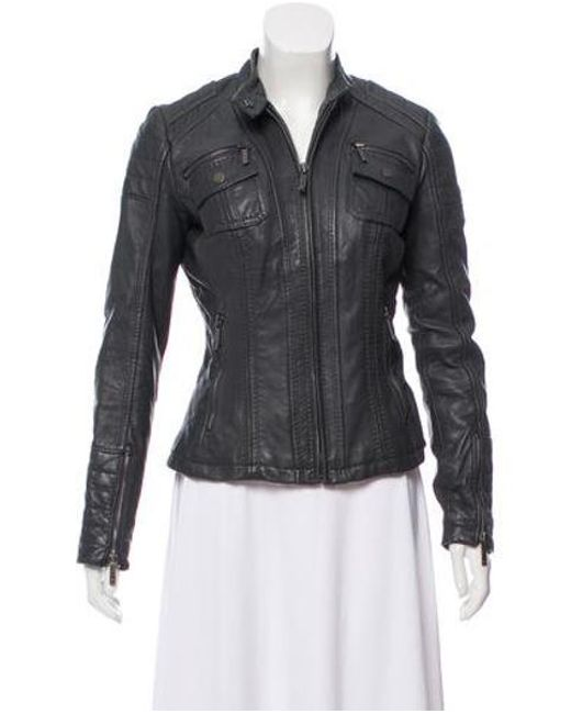 MICHAEL Michael Kors - Gray Michael Kors Leather Moto Jacket Grey - Lyst