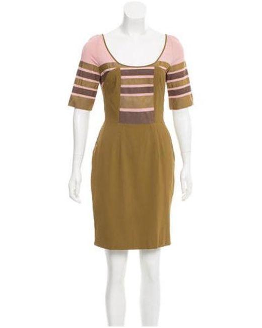 Zac Posen - Green Short Sleeve Mini Dress W/ Tags Lime - Lyst