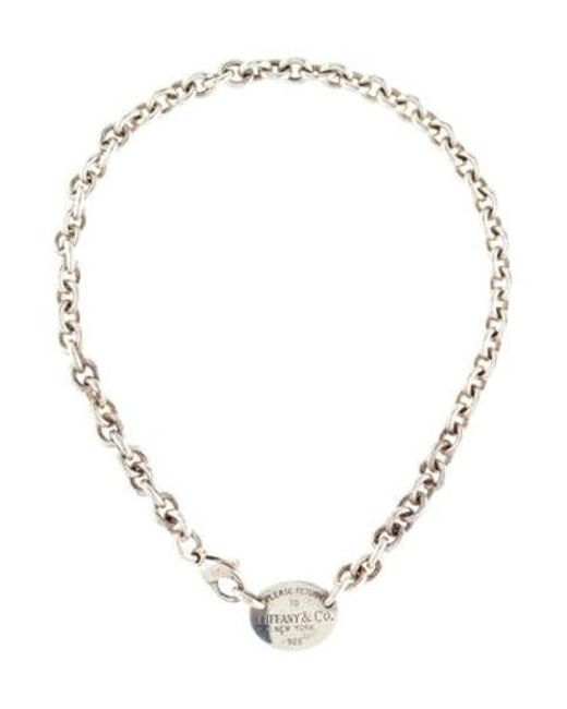 99fe656b6498 ... Tiffany   Co - Metallic Oval Tag Choker Silver - Lyst