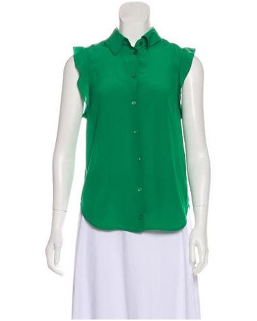 68db290662df9 Stella McCartney - Green Sleeveless Silk Top - Lyst ...