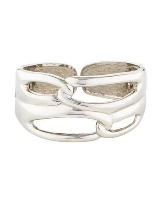 Kenneth Jay Lane - Metallic Open Link Cuff Silver - Lyst