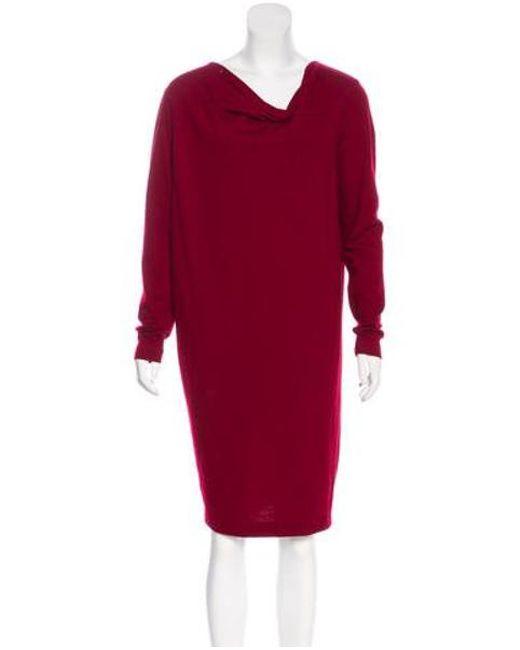 0eb58f1c968 Jil Sander - Brown Wool Knee-length Dress Wool - Lyst ...