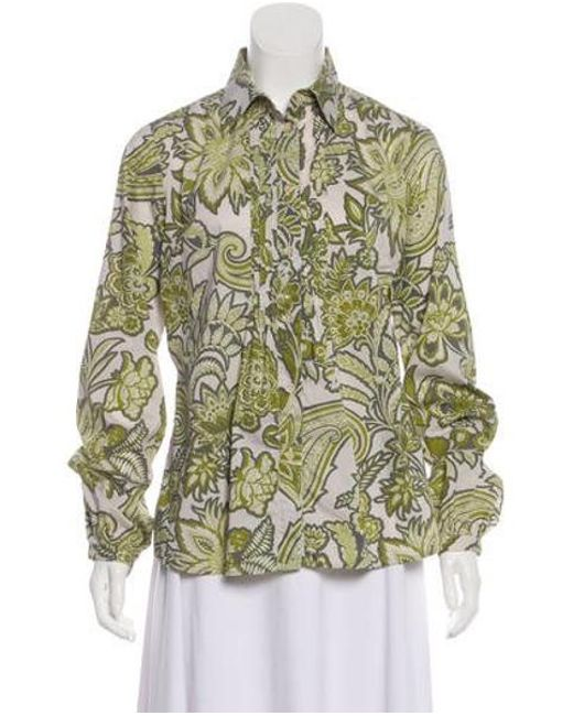 5da3bf63f5fe0 Etro - Gray Printed Long Sleeve Button-up White - Lyst ...