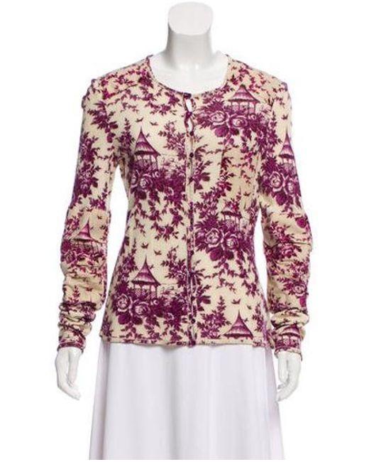 John Galliano - Purple Printed Long Sleeve Cardigan - Lyst ... 4a16c1a12