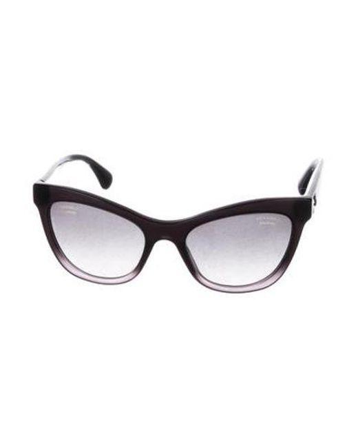 1d9a9754e09 Chanel - Black Polarized Cat-eye Sunglasses - Lyst ...