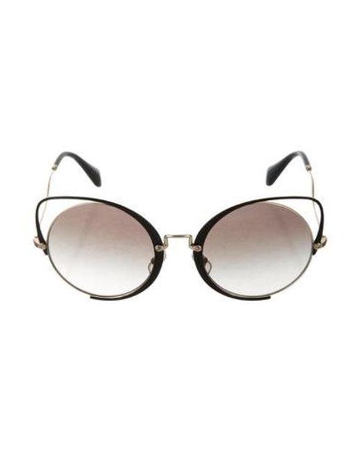 760b32db6 Miu Miu - Metallic Miu Cat-eye Logo Sunglasses Black - Lyst ...