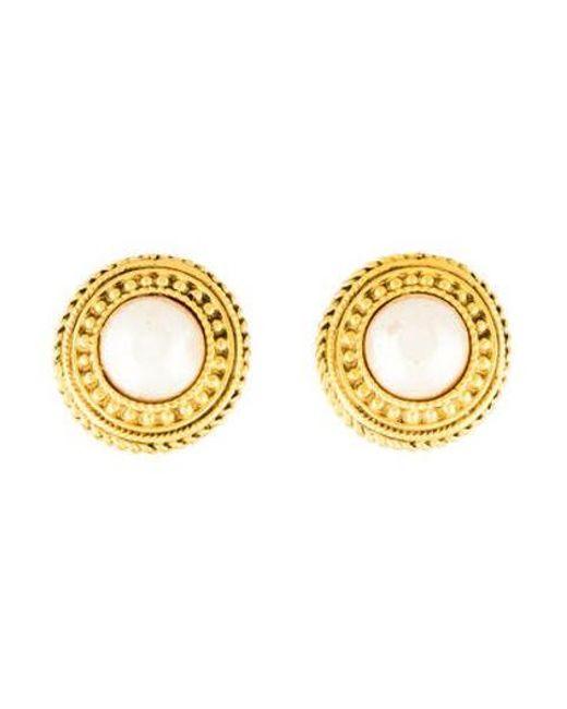 Chanel Metallic Faux Pearl Earrings Gold Lyst
