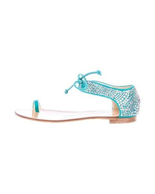 a41cf4d4fa76 Lyst - Giuseppe Zanotti Embellished Suede Sandals in Blue - Save ...
