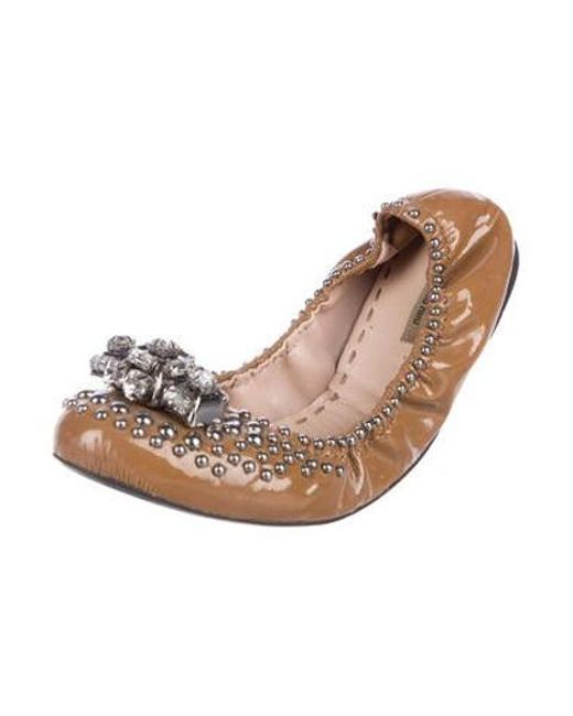 9ac054a02 ... Miu Miu - Metallic Miu Jeweled Accented Leather Flats Brown - Lyst ...