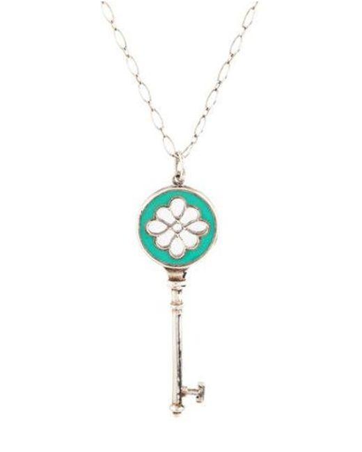 0eed8757a9e9 Lyst Tiffany Co Enamel Key Pendant Necklace Silver In Metallic